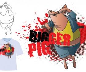 Cute bigger pig for T-shirt vector 02