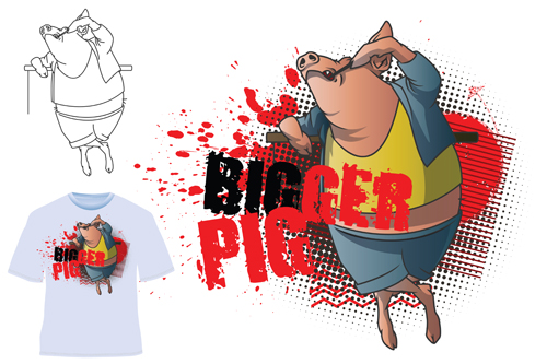 Cute bigger pig for T shirt vector 02