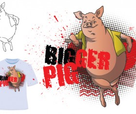 Cute bigger pig for T-shirt vector 03