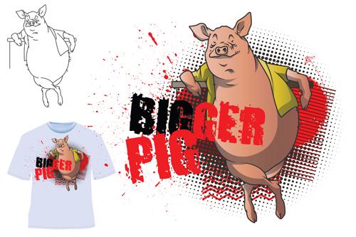 Cute bigger pig for T shirt vector 03