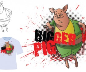 Cute bigger pig for T-shirt vector 04