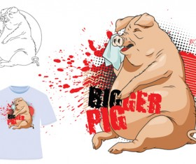 Cute bigger pig for T-shirt vector 05