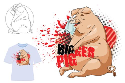 Cute bigger pig for T shirt vector 05