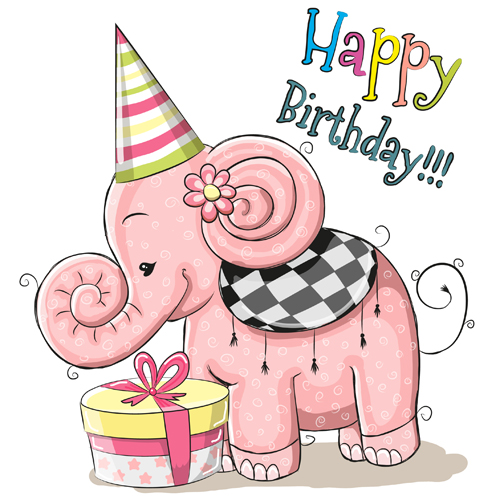 Cute Elephant Happy Birthday Cards Vector Free Download