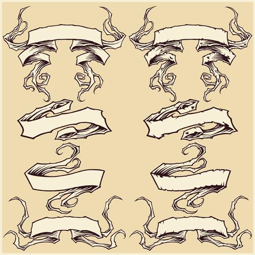 Damaged ribbons vector graphics