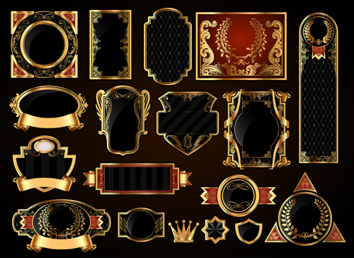 a87c247abff Dark gold frame labels luxury vector set 02 free download