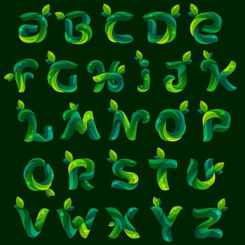 dark green leaves fonts vector