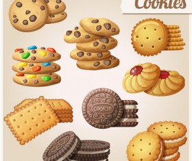Delicious cookies vectors design 01