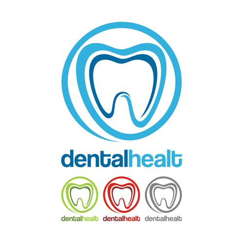 Dental Healt Circle Logo Vector Set 01