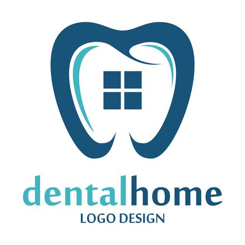 Dental home logos design vector 02 - Vector Logo free download