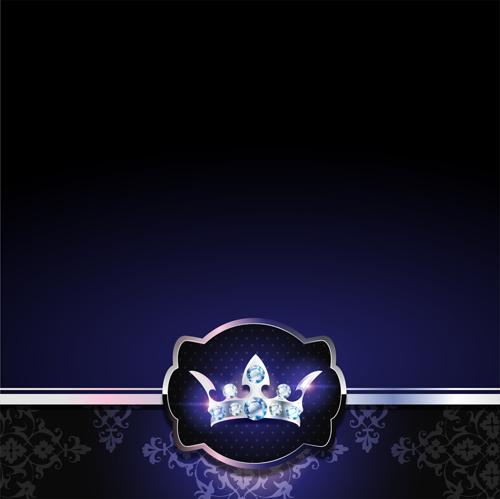diamond crown with dark blue vip invitation card vector 14