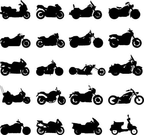Different motorcycles silhouetters vector 02