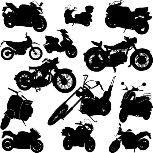 Different motorcycles silhouetters vector 03