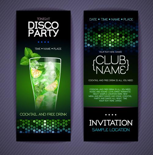 Disco party invitation cards vector vector car free download disco party invitation cards vector stopboris Images