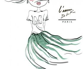 Fashion girls hand drawn illustration vector 02