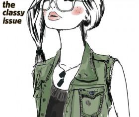 Fashion girls hand drawn illustration vector 03