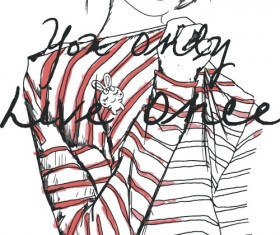 Fashion girls hand drawn illustration vector 04