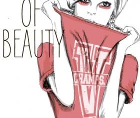 Fashion girls hand drawn illustration vector 05