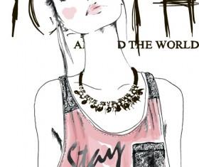 Fashion girls hand drawn illustration vector 06