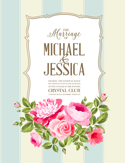 floral marriage invitation cards vintage vectors 03