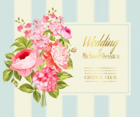 Floral marriage invitation cards vintage vectors 05
