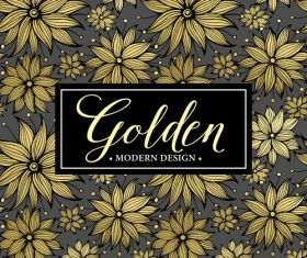 Floral seamless pattern with gold frame vectors 01