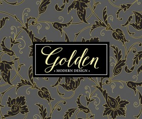 Floral seamless pattern with gold frame vectors 02