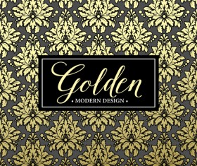 Floral seamless pattern with gold frame vectors 04