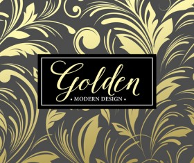 Floral seamless pattern with gold frame vectors 05