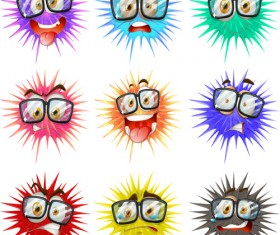 Funny bacterial smiles icons vector