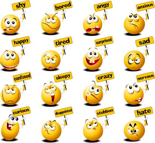 Funny spherical smiles with billboard icons vector
