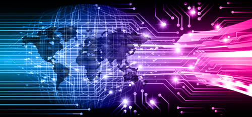Futuristic Digital World Concept Template Vectors 15