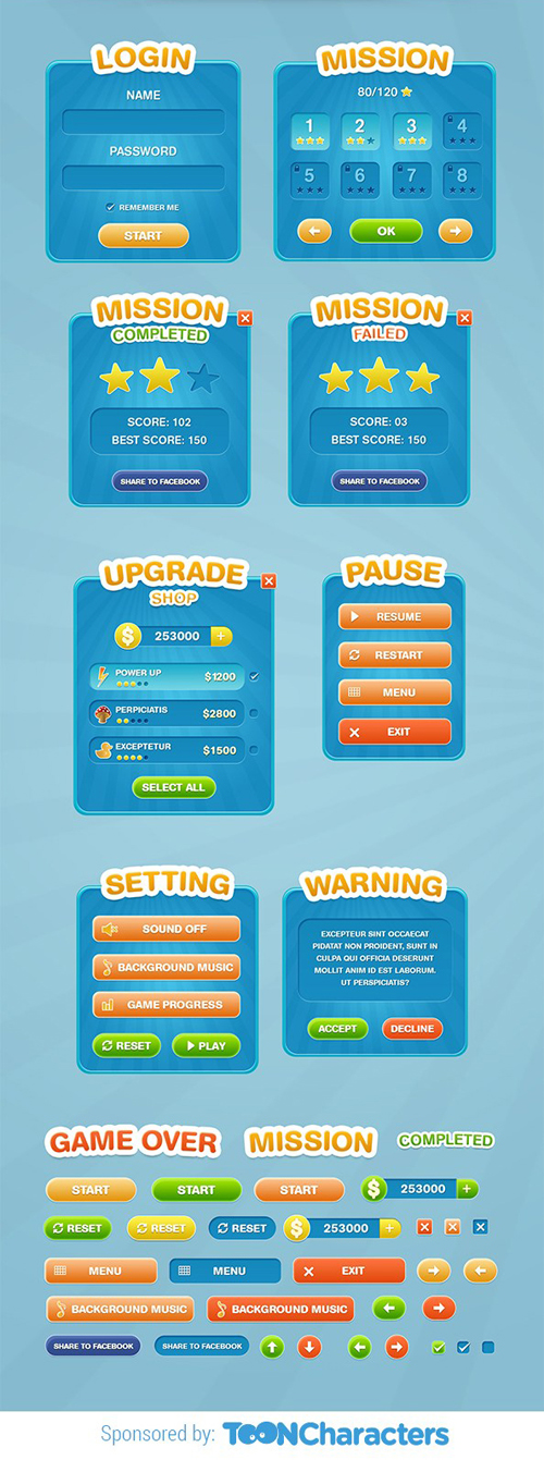 Game UI Concept psd material