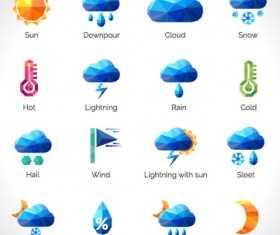 Geometric shapes weather icons set 01