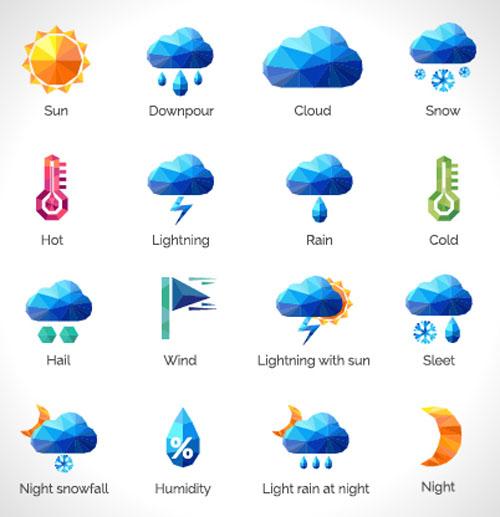 Geometric shapes weather icons set 01