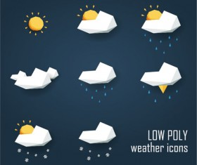 Geometric shapes weather icons set 02