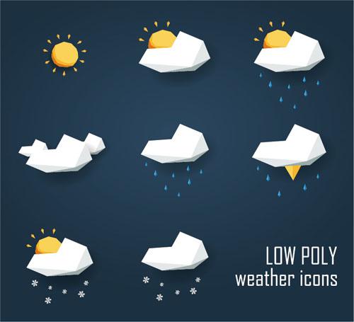 Geometric shapes weather icons set 02