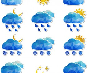 Geometric shapes weather icons set 03