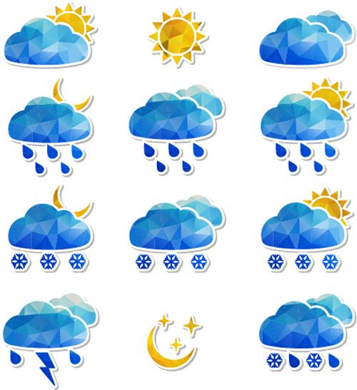 Geometric shapes weather icons set 03