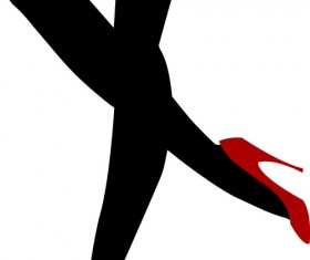 Glamour legs with red high-heeled shoes vector