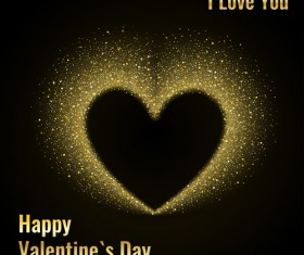 Golden glow valentines day card vector material