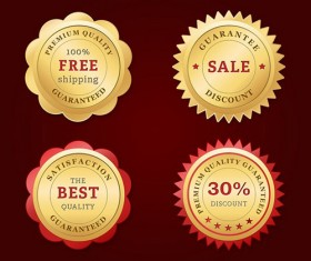 Golden web badges psd material