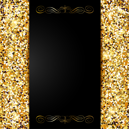 Golden With Black Vip Invitation Card Background Vector 02