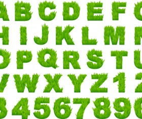 Grass alphabet letters with numbers vector