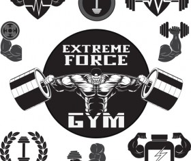 Gray with black gym labels vector 01