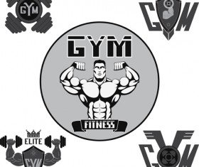 Gray with black gym labels vector 02