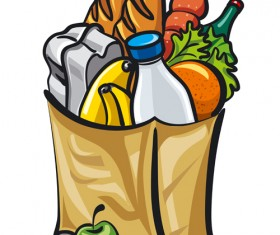 Grocery bag with food design vector 01