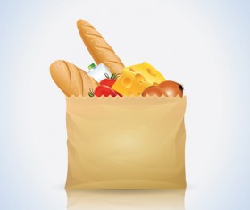 Grocery bag with food design vector 03
