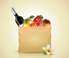 Grocery bag with food design vector 04