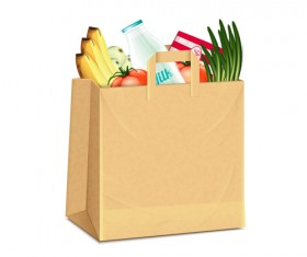 Grocery bag with food design vector 05